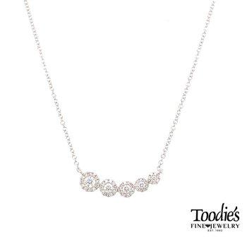 Diamond Round Halo Necklace