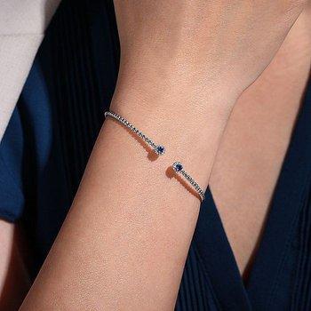 Blue Sapphire And Diamond Halo Bracelet