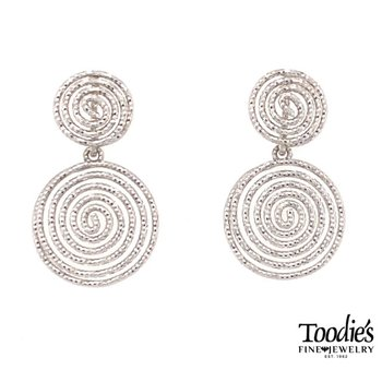 Diamond Cut Rounded Spiral Design Earrings