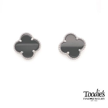Sterling Silver Black Onyx Clover Stud Earring