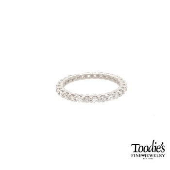 Classic Platinum Shared Prong Eternity Band