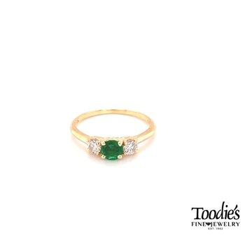 Emerald And Diamond Three Stone Basket Ring
