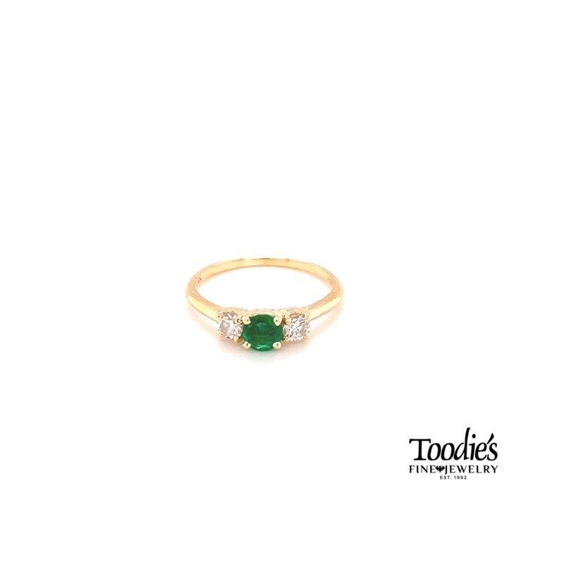 Toodie's Signature Fashion Emerald And Diamond Three Stone Basket Ring