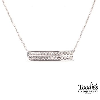 Straight Bar Diamond Cut Beaded Necklace