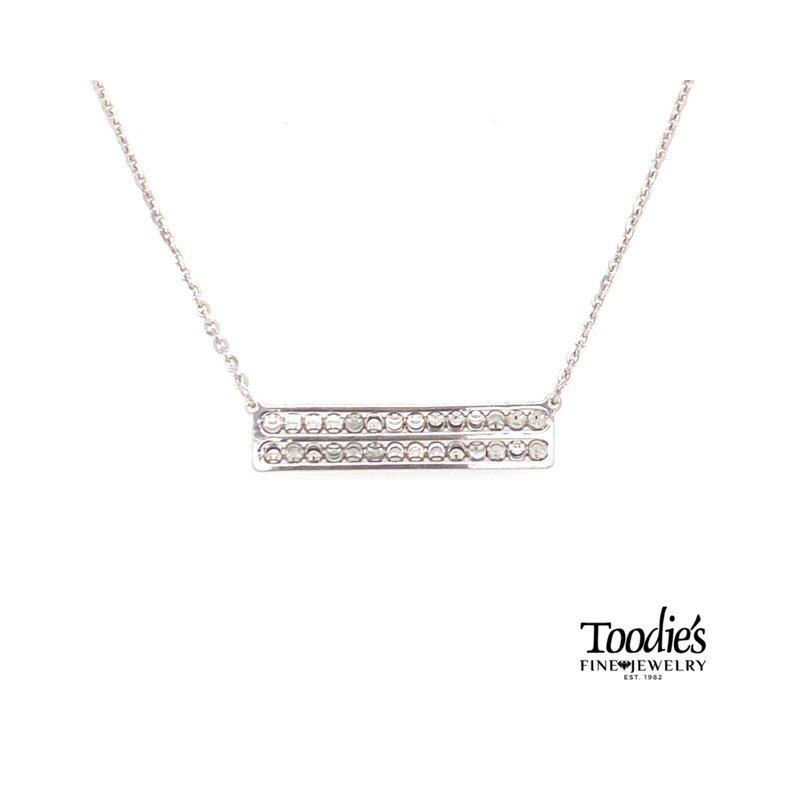 Officina Bernardi Straight Bar Diamond Cut Beaded Necklace