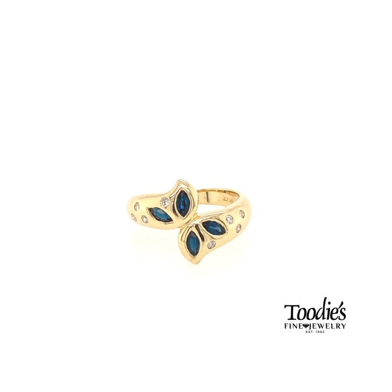Toodie's Signature Fashion Sapphire And Diamond Flower Ring