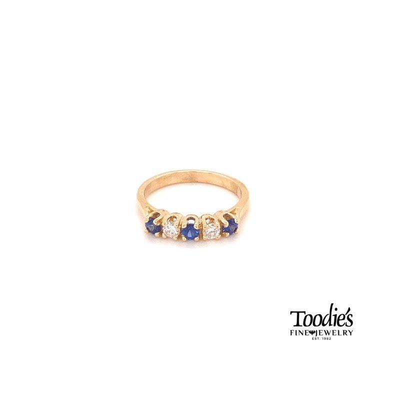 Toodie's Signature Fashion Five Stone Sapphire & Diamond Ring