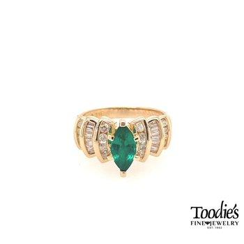 Chatham Lab Emerald and Genuine Diamond Ring