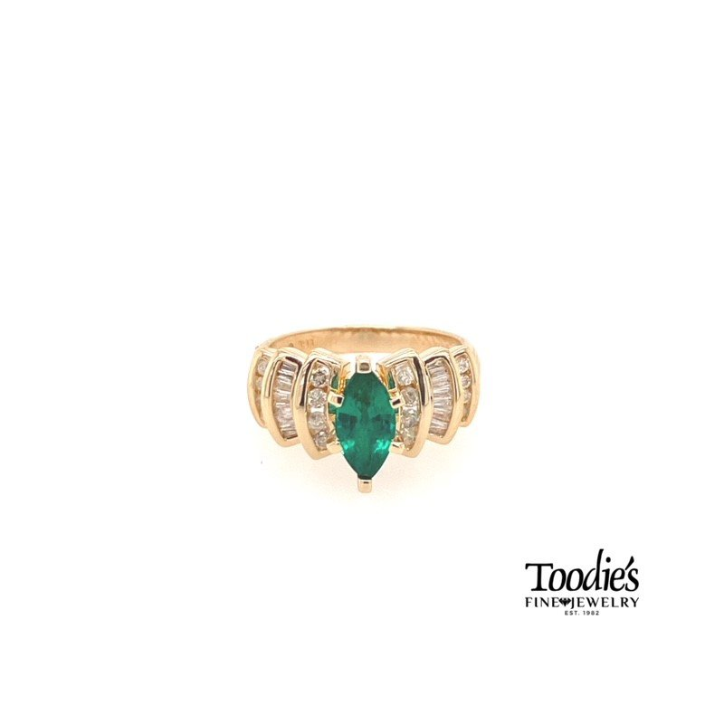 Toodie's Signature Fashion Chatham Lab Emerald and Genuine Diamond Ring