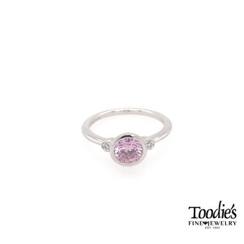 Sterling Silver Pink Zircon And Diamond Fashion Ring