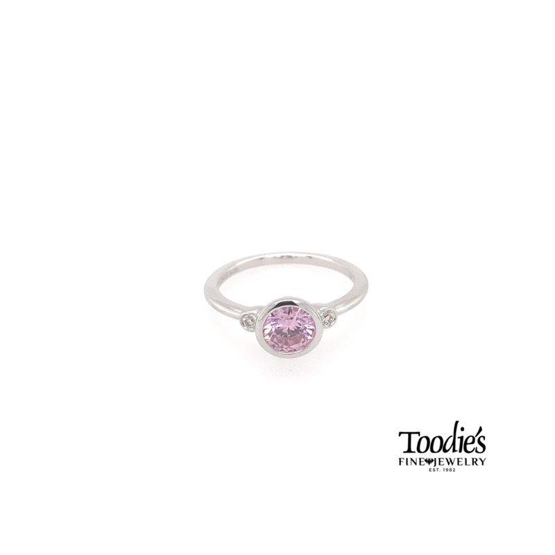 Gabriel Fashion Sterling Silver Pink Zircon And Diamond Fashion Ring
