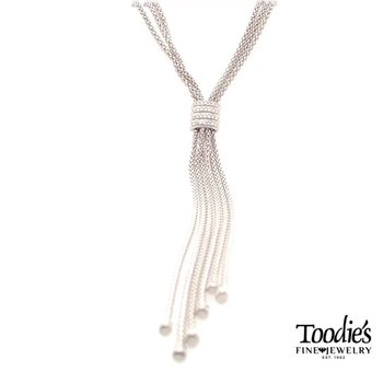 Triple Popcorn Style Diamond Lariat Style Drop Necklace