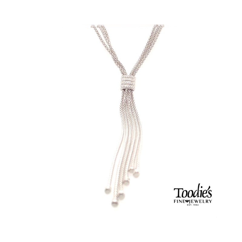 Phillip Gavriel Triple Popcorn Style Diamond Lariat Style Drop Necklace