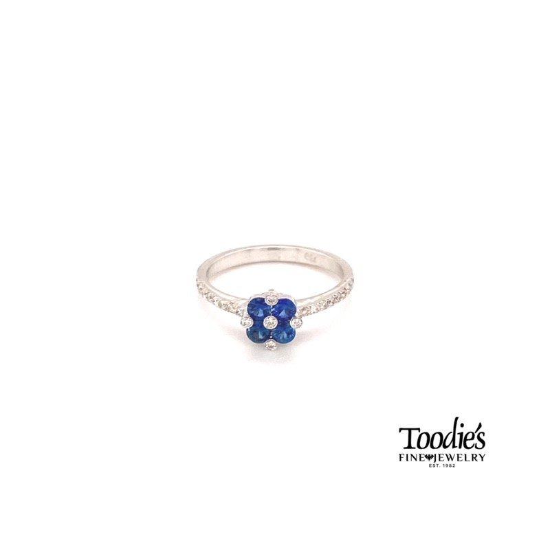 Toodie's Signature Fashion Sapphire & Diamond Flower Ring