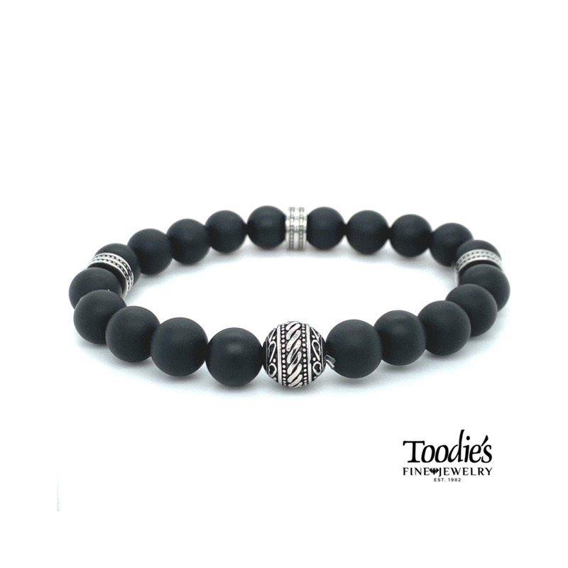 Toodie's Signature Fashion Black Agate Stretch Bracelet