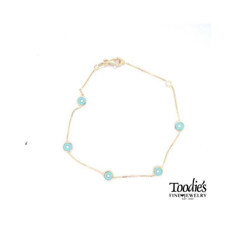 Toodie's Signature Fashion Blue And White Enamel Evil Eye Bracelet