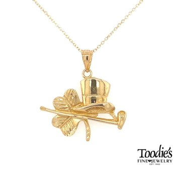 Yellow Gold Shamrock Necklace
