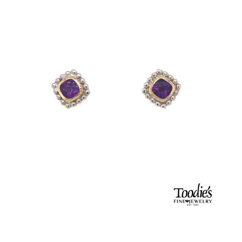 Phillip Gavriel Amethyst Bezel Set Studded Earrings