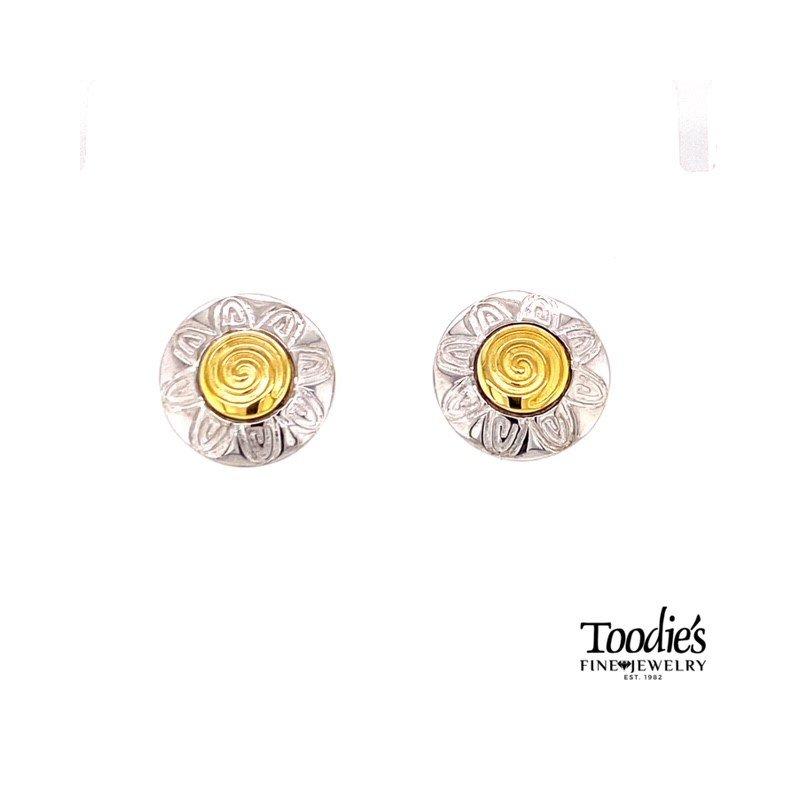 Charsinsky Designs Swirly Flower Studded Earrings