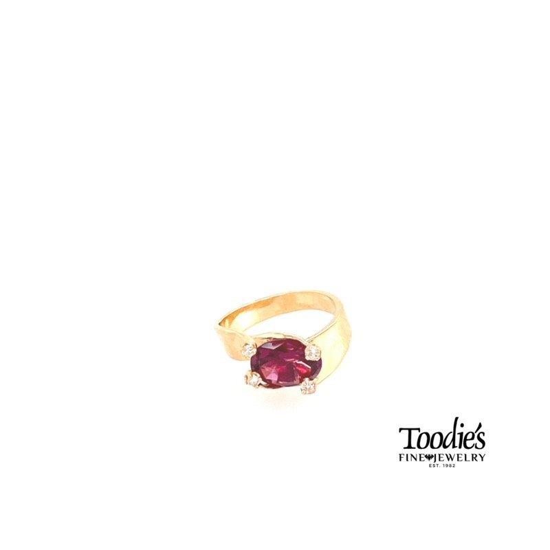 Toodie's Signature Fashion Rhodalite Garnet and Diamond Prong Ring