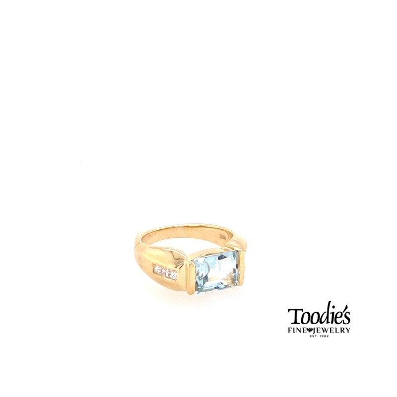 Toodie's Signature Fashion Bezel Set Aquamarine and Diamond Ring