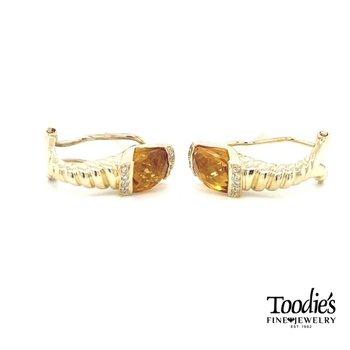 Citrene and Diamond Earrings