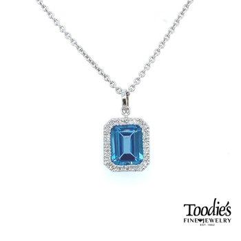 Blue Topaz Halo Necklace