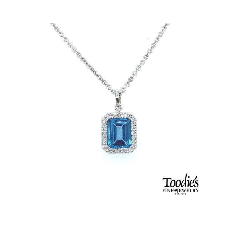 Toodie's Signature Fashion Blue Topaz Halo Necklace