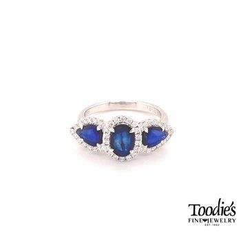 Sapphire And Diamond Three Stone Halo Style Ring