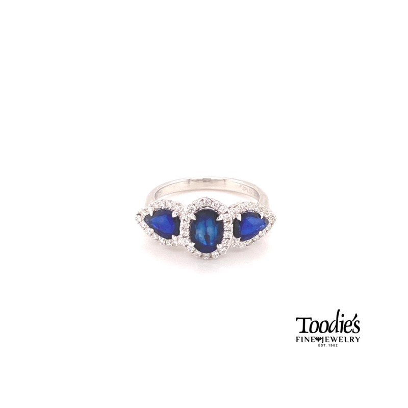 Toodie's Signature Fashion Sapphire And Diamond Three Stone Halo Style Ring