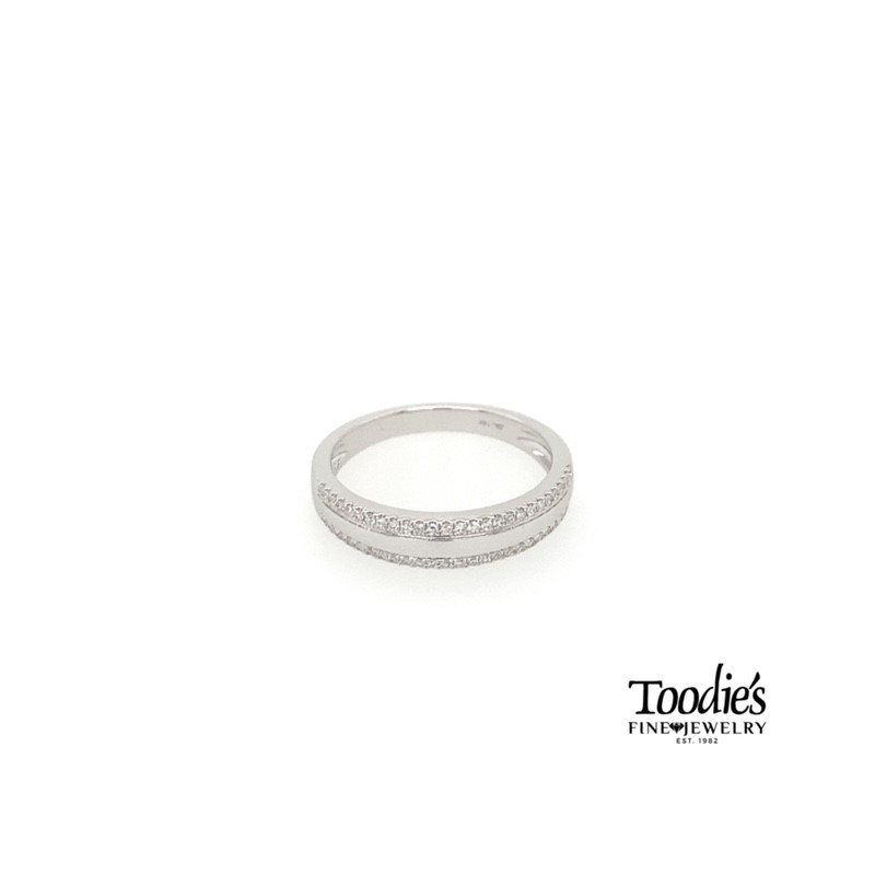 Diamond Double Row with Polished Center Ring