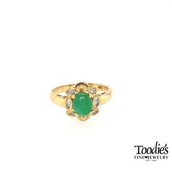 Vintage Jade and Diamond Ring