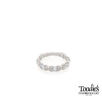 Aquamarine And Diamond Floral Design Ring