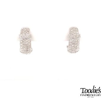 Vintage Inspired Diamond Huggie Pave' Earrings.
