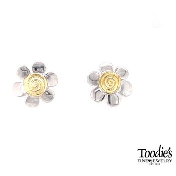 Swirly Flower Studded Earrings