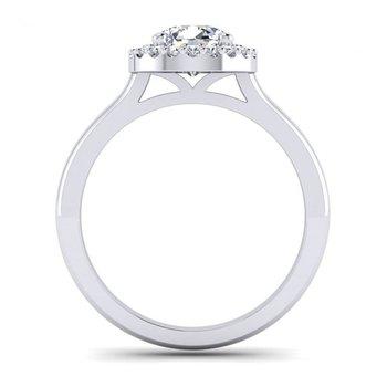 Round Diamond Halo Top Engagement Ring