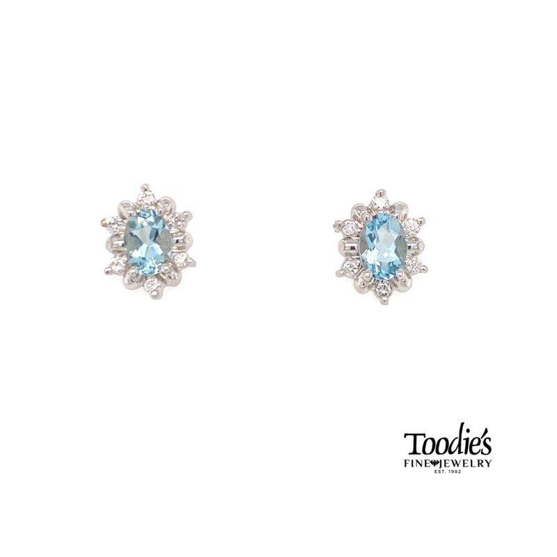 Toodie's Signature Fashion Aquamarine And Diamond Halo Earrings