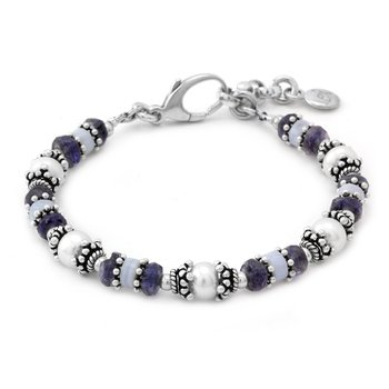 Blue Lace, Iolite, and Pearl Bracelet