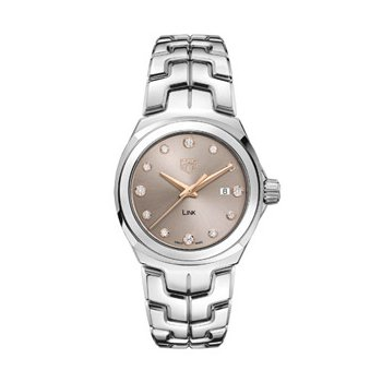 Ladies Link Watch with Beige Diamond Dial