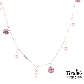 Pearl Necklace In Lilac With Crystal