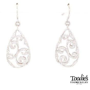 Diamond Swirly Drop Earrings