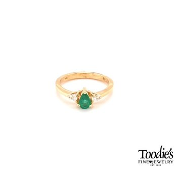 Pear Emerald and Pear Diamond 3 Stone Ring