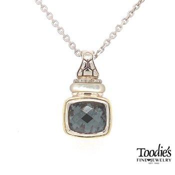 Hematite And Diamond Pendant Necklace