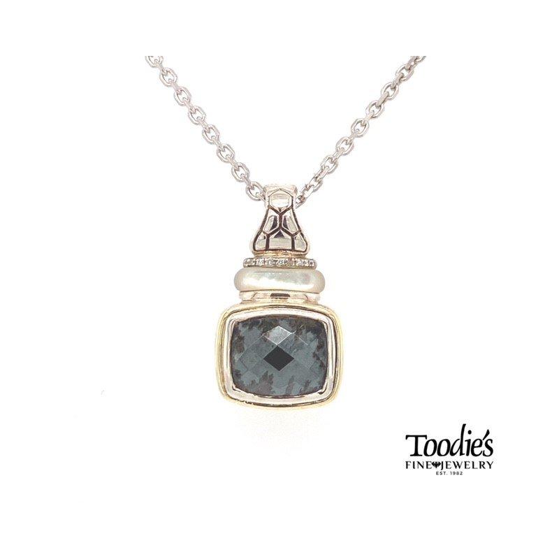 Asch Grossbardt Designs Hematite And Diamond Pendant Necklace