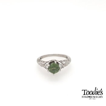Vintage Inspired Green Sapphire and Diamond Ring