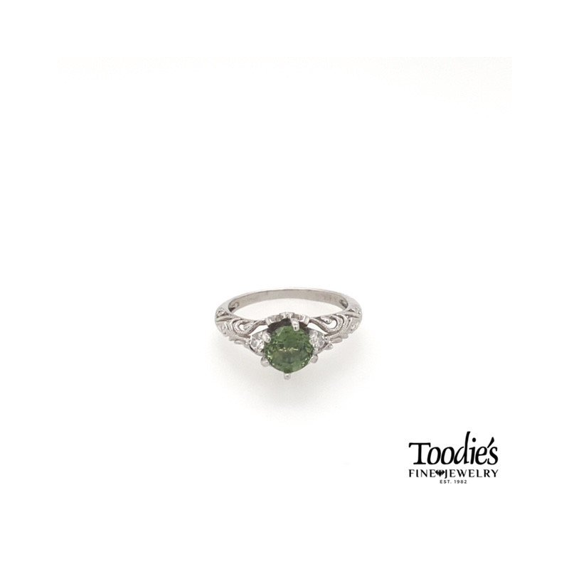 Toodie's Signature Fashion Vintage Inspired Green Sapphire and Diamond Ring