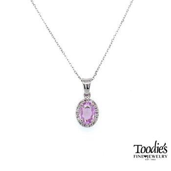 Pastel Pink Sapphire and Diamond Halo Pendant