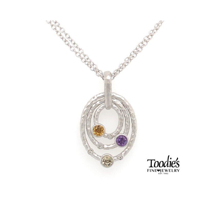 Gabriel Fashion Multi Colored Circular Pendant Necklace