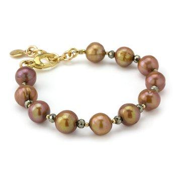 Pyrite And Potato Pearl Bracelet