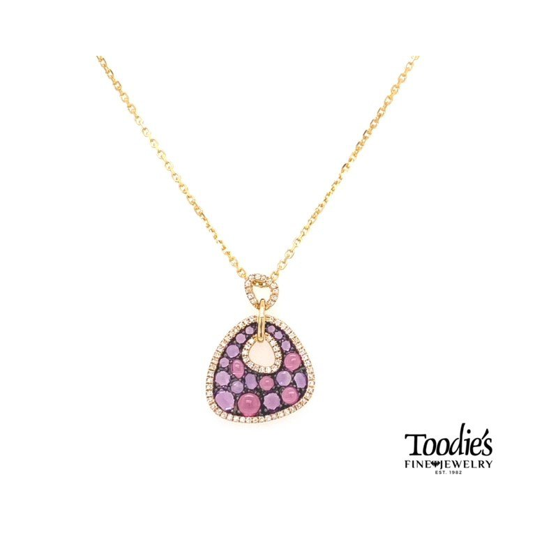 Toodie's Signature Fashion Yellow Gold Amethyst And Diamond Necklace